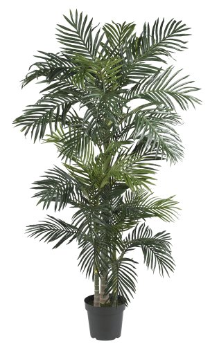 Silk Christmas Tree - Nearly Natural 5289 Golden Cane Palm Silk Tree, 6.5-Feet, Green