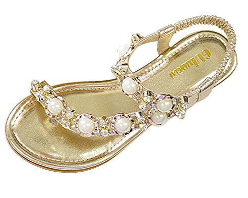 Minetom Women's Summer PU Leather Clip Toe Beach Bohemian Beaded Flip Flops Wedges Platform Herringbone Sandals Gold pfzedY4