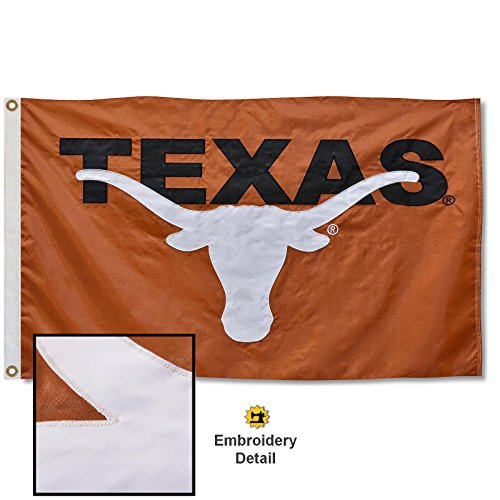 (Texas Longhorns Embroidered and Stitched Nylon Flag)