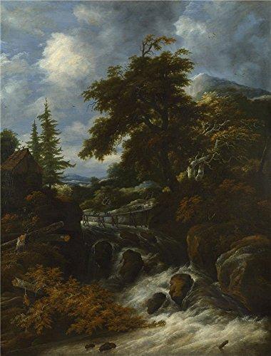 Oil Painting 'Jacob Salomonsz. Van Ruysdael A Waterfall By A