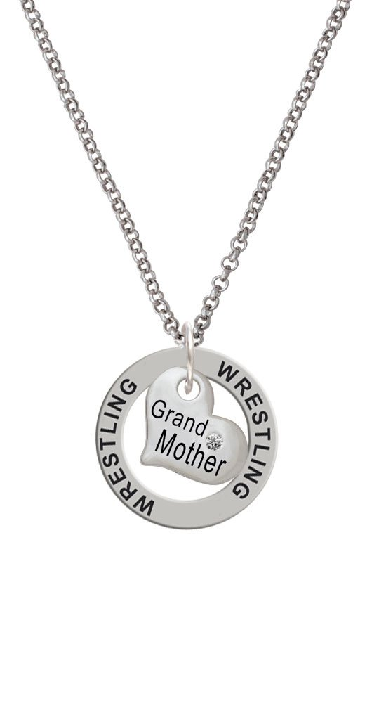 Small ''Grandmother'' Heart with Clear Crystal - Wrestling Affirmation Ring Necklace