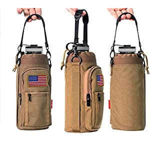 YISIBO 40 oz Pouch / Sleeve with Carrying Handle for Hydro Flask Bottles w/ 2 Pockets Adjustable Shoulder Strap Embroidered Velcro Badge