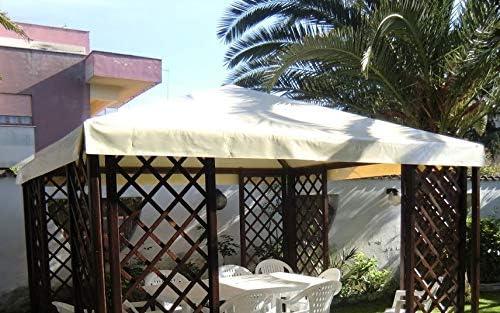 TUTTOPERGOLE Telo in PVC di Ricambio Tetto Gazebo 3X3 m Avorio
