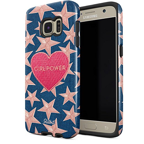 Glitbit Samsung Galaxy S6 Case Gril Power Girl Gang Boss Crybaby Feminist Feminism Patches Embroidered Heart Emoji Heavy Duty Shockproof Dual Layer Hard Shell + Silicone Protective Cover