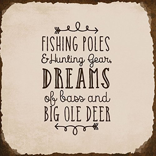 VictorJoan Fishing Poles Hunting Gear Dream Bass Big Ole Deer Novelty Square Metal Sign Tin Sign Rusty Frame Light Grey Background Brown Lettering