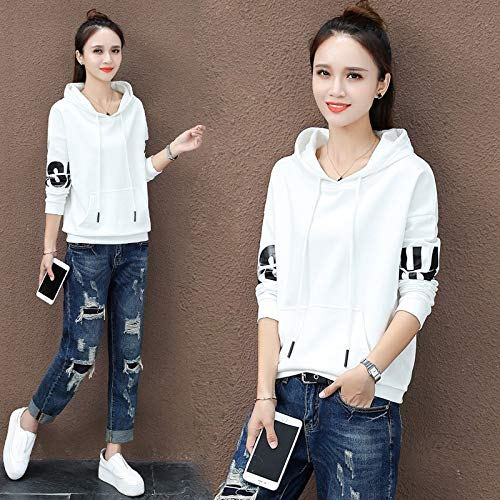 XL WEDOJO Suelta Blanco Mujer Larga Autumn Sweater XXL L Manga de M para Coat Abrigo con Capucha Early qrTZxwPrIf