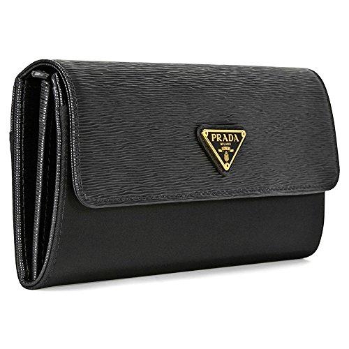 Prada Women's Tessuto-Vitello Textured Leather and Nylon Wallet, Nero (Black)
