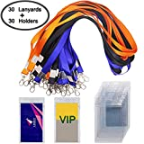 30 Pack Badge Holder with 3 Colors Lanyards, DanziX Waterproof Vertical Name Tag ID Card Holder, Heavy Duty Sealable Vinyl PVC,Size 2.7''4.7''- Clear
