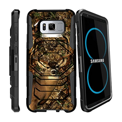 MINITURTLE Case Compatible w/ S8 Holster Deer Case| Samsung Galaxy S8 Case| SM-G950 Case [Armor Reloaded] Holster Combo + Rugged Impact Resistant + Stand - Deer Hunting Camo
