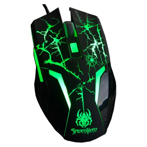 2013 New A-jazz Spider Man Sixth Generation 6d Wired USB Optical Professional Gaming Mouse Original & Brand NEW in Box Green LED Lights Breathing Light Crack Design