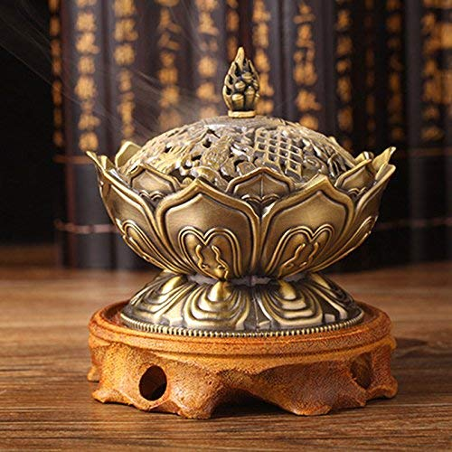 (1 Piece Tibetan Incense Holder - Tibetan Lotus Designed Metal Bronze Backflow Incense Burner Craft Censer Stick Holders Home Teahouse Decorations Accessories (BRONZE))
