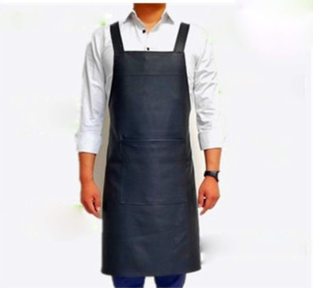 DALAZ Waterproof Leather Working Aprons, Oil-proof Restaurant Cooking Kitchen Chef Apron for Men Womens - Black Dishwashing Bib PVC Aprons