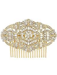 Ever Faith Bridal Gatsby Inspired Art Deco Hair Comb Clear Austrian Crystal