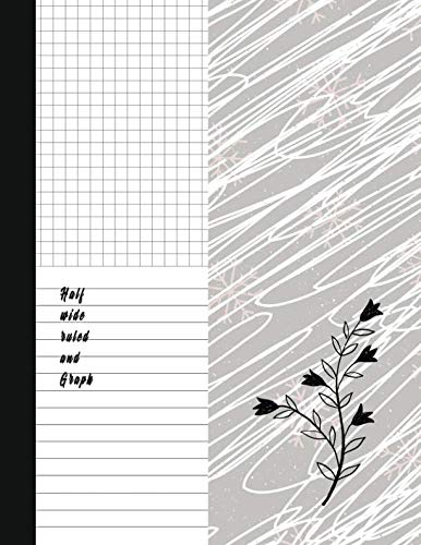 Half wide ruled and Graph: Classic Black And White Soft Cover Composition Notebook Half Graph 4x4 Half Lined Paper Notebook on same page, Squared, ... Notebooks, Diary Practice Journal Organizer. ()
