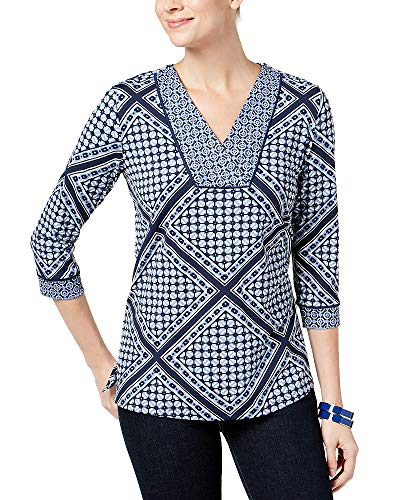 Print Mixed Sleeve Top - Charter Club 3/4-Sleeve Mixed-Print Top (Intrepid Blue Combo, XXL)