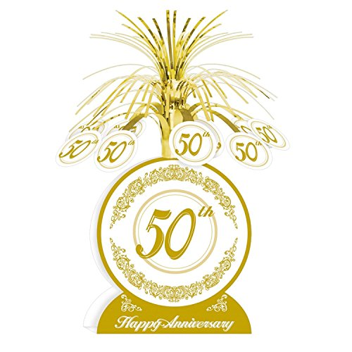 """Club Pack of 12 Gold and White """"50th Happy Anniversary"""" T..."""
