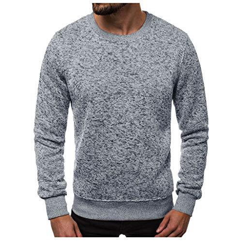 Men's Autumn and Winter Long Sleeve Pullover Sweatshirt Warm Neck Sweater KLGDA Gray from KLGDA Mens Tops