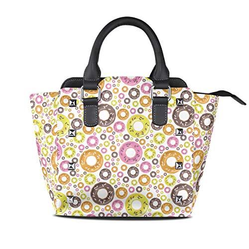 Chocolate Glazed Love Doughnuts Women Top Handle Satchel Handbags Shoulder Bag Tote Purse Messenger Bags