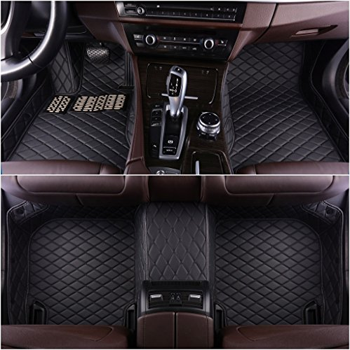 Okutech Custom Fit All-Weather 3D Covered Car Carpet FloorLiner Floor Mats for Infiniti G25 G35 G37 4 door Sedan,Black with black stitching