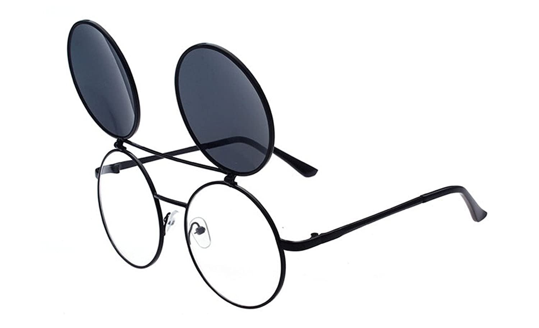 GAMT Steampunk Filp up Round Aviator Sunglasses for Men and Women UV400
