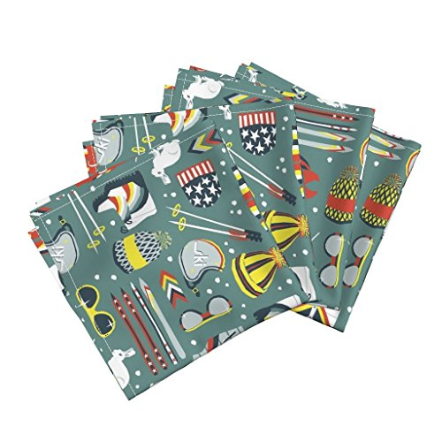 Roostery Retro Linen Cotton Dinner Napkins 1970S Retro Ski by Sammyk Set of 4 Cotton Dinner Napkins ()