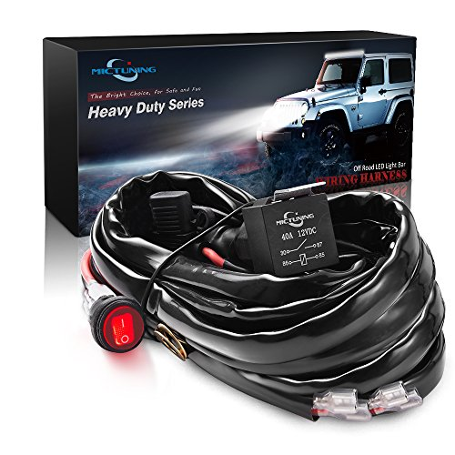 MICTUNING HD+ 12 Gauge 600W LED Light Bar Wiring Harness Kit w/ 40Amp Relay, 3 Free Fuse, On-off Waterproof Switch Red(2 Lead 12ft)