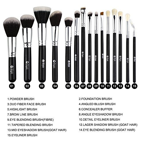 FEIYAN Makeup Brushes Premium Makeup Brush Set Natural Goat Synthetic Cosmetics Kabuki Foundation Blending Blush Face Eyeshadow Eyeliner Concealer Powder Brush Kit with Pouch (15 pcs, Silver Black)