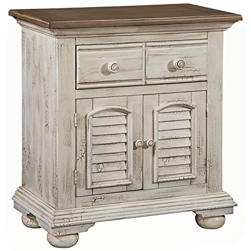 (American Woodcrafters Cottage Traditions Crackled White Large Nightstand)