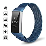 TOMALL Metal Replacement Bands Compatible for Fitbit Charge 3 Women Men, Stainless Steel Watch Accessory Wristband Magnetic Breathable Sport Bracelet Strap