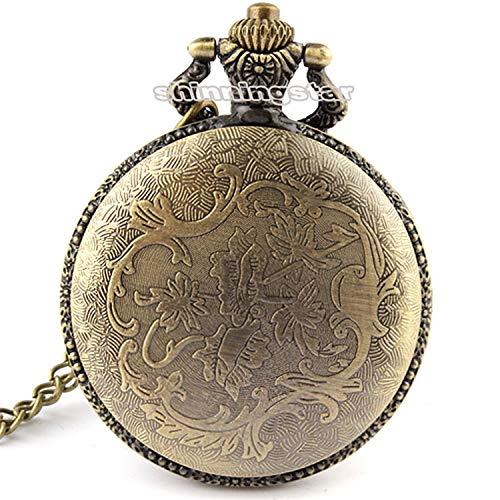 ZJZ Ny 3D bronseffekt antik vintage fodral män kvarts fickur halsband 80 cm kedja
