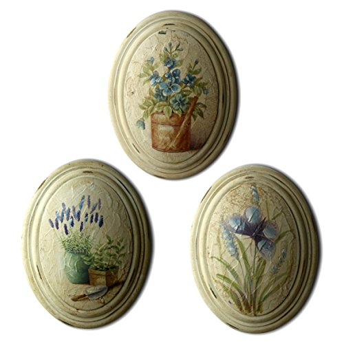 "CVHOMEDECO. Rustic Antique Hand Painted Oval Wooden Frame Wall Hanging 3D Painting Decoration Art, Blue Flower Design, 6-3/4"" x 8-3/4"", Set of 3."