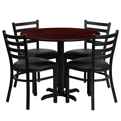 Flash Furniture 36'' Round Mahogany Laminate Table Set 4 Ladder Back Metal Chairs - Black Vinyl Seat
