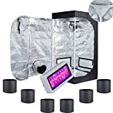 "TopoLite Grow Tent Complete Kit Hydroponics Growing System 24""x24""x48"" w/ Plastic Corner Dark Room + LED300W Grow Light + 1Gallon/ 6PCS Fabric Grow Bags (24''x24''X48''+LED300W+1Gal/6PCS)"