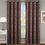 Cheap Pair of Two Window Panels, Elegant and Contemporary Jacquard Blair Grommet Top Draperies. Set of Two Chocolate 54″ Width by 84″ Length Panels (108″ W by 84″ L Pair)