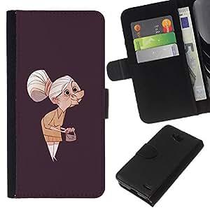 iBinBang / Flip Funda de Cuero Case Cover - Granny Vecchia Signora Painting Art Clutch Capelli grigi - LG OPTIMUS L90