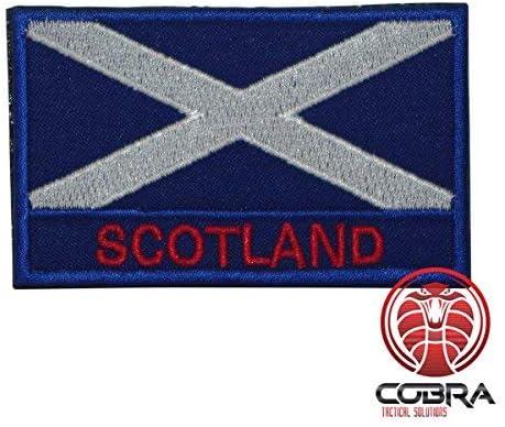 Cobra Tactical Solutions Patch Militaire /Écusson Brod/é avec sa lani/ère Hook /& Loop pour Airsoft//Paintball Drapeau /Écosse pour Sac /à Dos Tactique V/êtements.