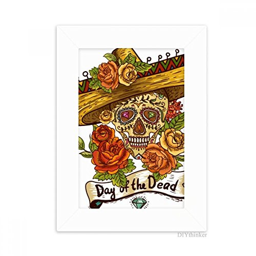 Sombrero Suger Skull Mexico Day of the Dead Desktop Photo Frame Picture White Art Painting 5x7 inch by DIYthinker