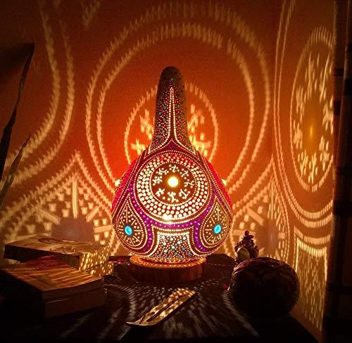 The Wicked Bohemian | Fine Gourd Lamp Night Light Unique Boho Home Decor Birthday Anniversary Gift Ideas