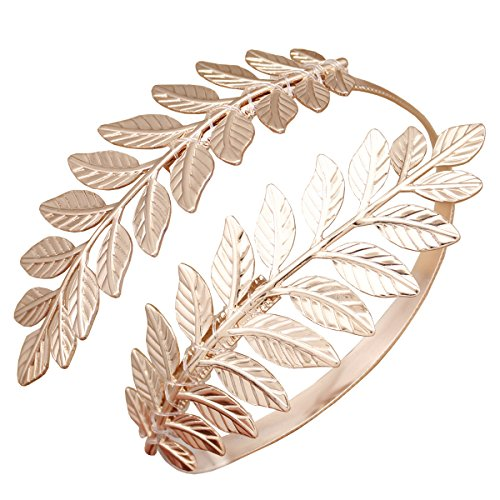 RechicGu Rose Gold Greek Roman Laurel Leaf Bracelet Armband Upper Arm Cuff Armlet Festival Bridal