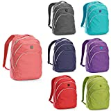 iPack 19'' Lightweight School Travel Interior Laptop Sleeve Backpack (Coral)