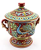 ART ESCUDELLERS Cermic multicolored JUG handpainted with 24K GOLD, decorated in BYZANTINE RED style. 9,06'' x 7,48'' x 9,45''
