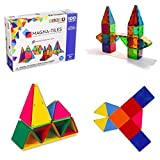 Magna-Tiles 100-Piece Clear Colors Set - The Original, Award-Winning Magnetic Building Tiles - Creativity and Educational - STEM Approved Bundled 02300 Solid Colors 100 Piece Set