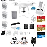 DJI Phantom 4 Quadcopter Drone with 4K Video EVERYTHING YOU NEED KIT + 3 Total DJI Batteries + 2 SanDisk 64GB Micro SDXC Cards + Strap Carry System + Card Reader 3.0 (3 battery Bundle)