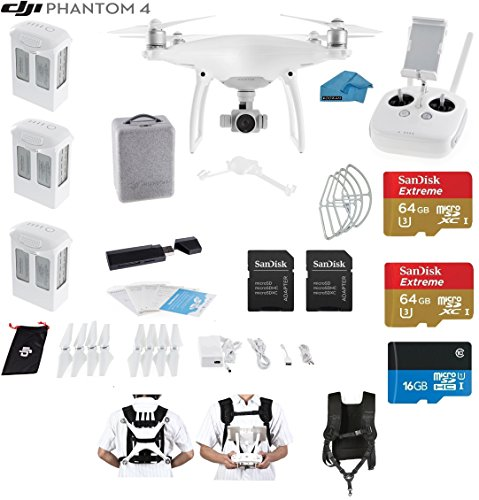 DJI Phantom 4 Quadcopter Drone with 4K Video EVERYTHING YOU NEED KIT + 3 Total DJI Batteries + 2 SanDisk 64GB Micro SDXC Cards + Strap Carry System + Card Reader 3.0 + Snap on Guards(3 battery Bundle)