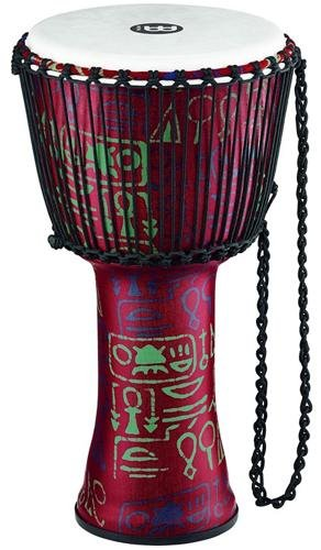 Meinl Percussion PADJ1-L-F Large Rope Tuned Travel Series Djembe with Synthetic Shell and Head, Pharaoh's Script