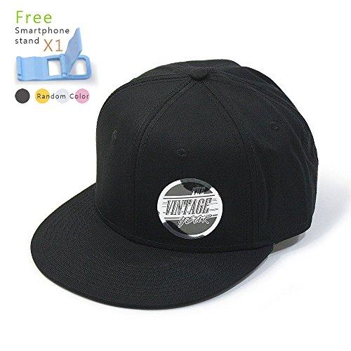 Premium Plain Cotton Twill Adjustable Flat Bill Snapback Hats Baseball Caps (Varied Colors) (Black)
