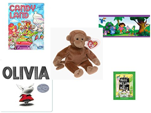 (Children's Gift Bundle - Ages 3-5 [5 Piece] - Candy Land Game - Dora The Explorer Decorative Border - Ty Beanie Baby - Bongo the Monkey - Olivia Board Book - Miss Nelson is Back Paperback Book)