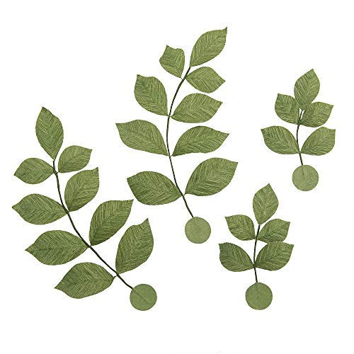 Ling's moment Artificial Crepe Paper Real Touch Leaves, Handmade Flexible Leaves Greenery, Paper Flower Decorations for DIY Craft Wall Baby Nursery Bridal Shower Wedding, Wreath Accessories