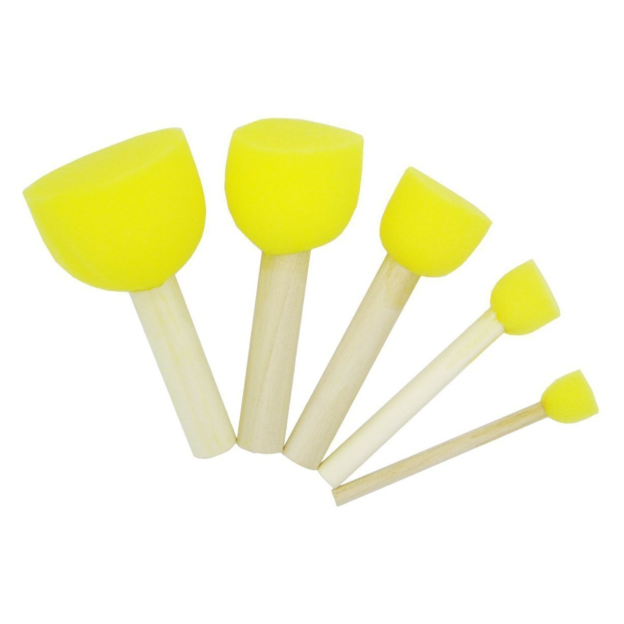 Koreyoshi 20 Pcs Round Stencil Sponge Wooden Handle Foam Brush Furniture Art Crafts Painting Tool Supplies Painting Stippler Set DIY Painting Tools in 5 Sizes for Kids (Style 1)