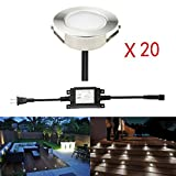 FVTLED 20pcs Low Voltage 1.5W LED Deck Lighting Kit 2-2/5'' 60mm Stainless Steel Waterproof Outdoor Recessed Yard Garden Decoration Lamp Patio Stairs Landscape Pathway Step Light, Cool White
